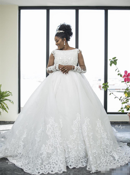 Discount Modest 2019 Cheap Plus Size Wedding Dresses Long Sleeve Lace  Pearls Tulle A Line Country Wedding Dress Robe De Mariée African Bridal  Gowns ...