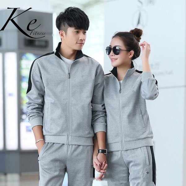 KE New 2019 tracksuit big size men and women couple sports set suit long-sleeved cardigan casual trousers running clothes