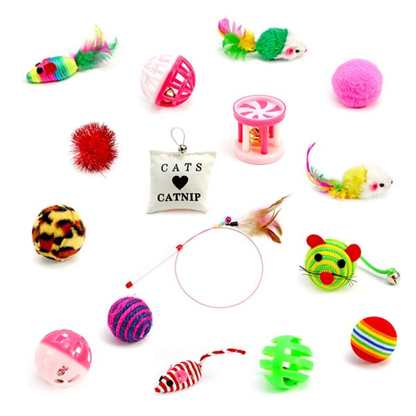 16pcs/set toys variety pack cats funny mouse catnip sisal balls gift feather toy set for small cat kitten pet supplies