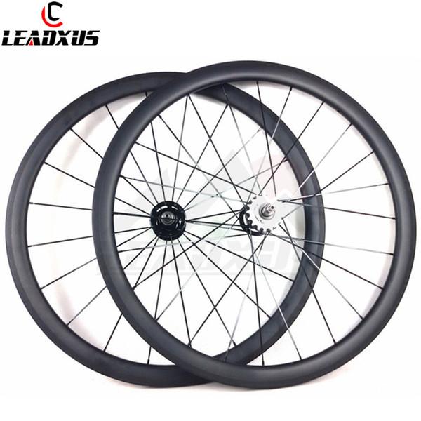 LEADXUS Full Carbon Fiber 38mm Copertoncino / Tubular Roue Velo Fixed Bicycle Wheel Fixed Gear 700C Carbon Track Ruote bici
