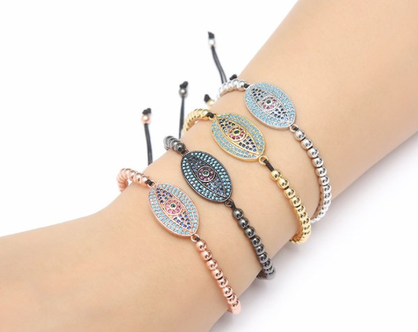 gold silver micro pave cz Cubic Zirconia rope adjusted Copper Beads Bracelet xhrer Eye Charm Braided Bangles Fashion