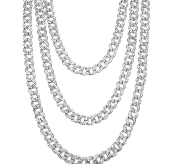 Vintage Fashion Jewelry Stainless Steel High Quality ice out miami cuban chain Full CZ Crystal Necklace For Women Men