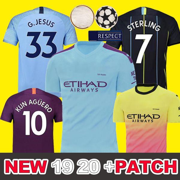 Tailandia Manchester City 2018 2019 camiseta de fútbol tercera tercera MAHREZ JESÚS DE BRUYNE AGUERO SANE 18 19 camisa de fútbol hombres parches púrpura hogar lejos patches purple home away men adul