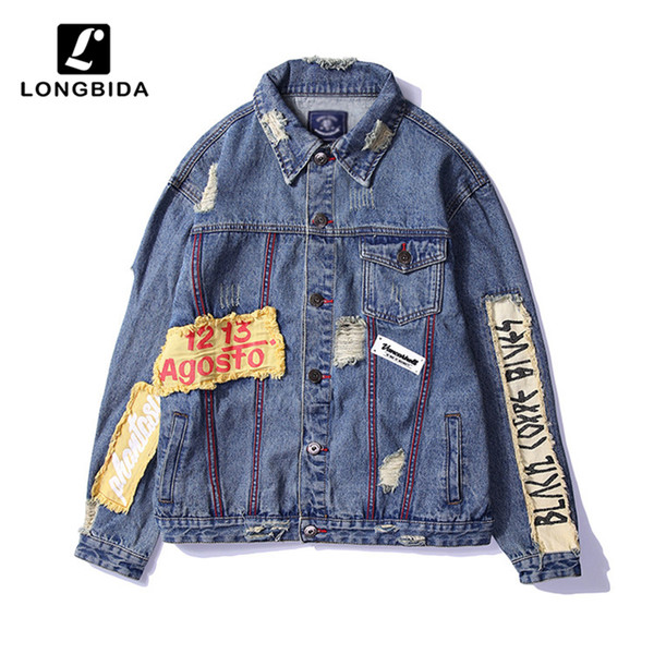 LONGBIDA 2019 New Men's Jeans Jackets High Street Patch Designs Male Denim Overcoat Hip Hop Men Jackets Streetwear Men's Coats