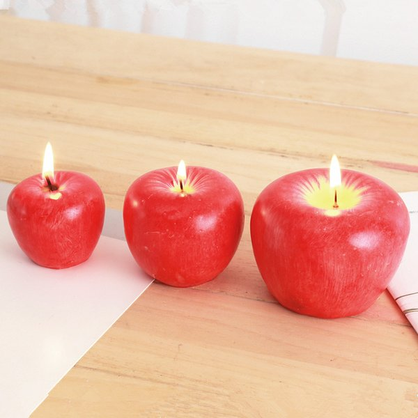 top popular S M L Red Apple Candle With Box Fruit Shape Scented Candles Lamp Birthday Wedding Gift Christmas Party Home Decoration Wholesale DBC BH2693 2021