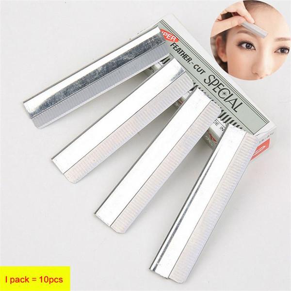 10 unids / lote acero inoxidable ceja recortador ceja tijeras Edge cuchillas de afeitar para cejas cara depiladora depilación hermosos cuchillos