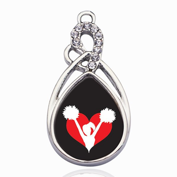 I Heart Cheering Circle Charm Charms Pendant for DIY Necklace Bracelet Jewelry Making Handmade Accessories