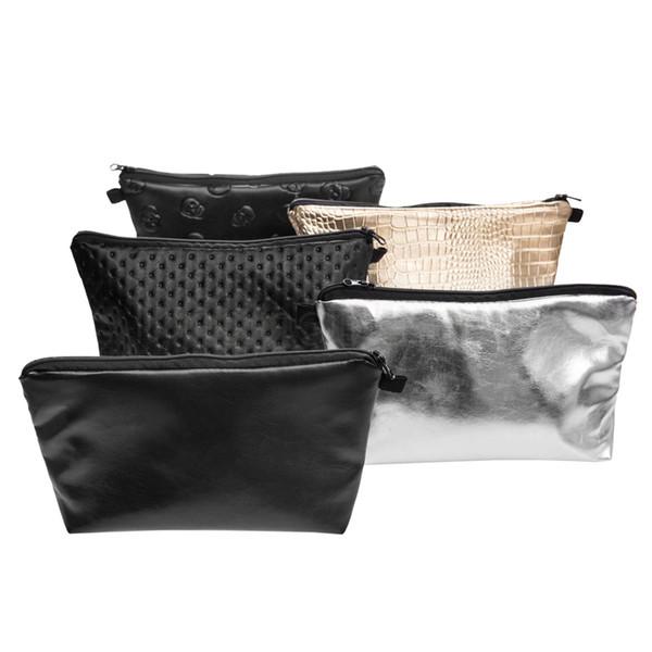 Laser Cosmetic Bag Holographic Zipper Makeup Bag Feminino portátil viagem PU Mulheres à prova d'água Make Up Bag Sólidos Purse Organizer FFA3036