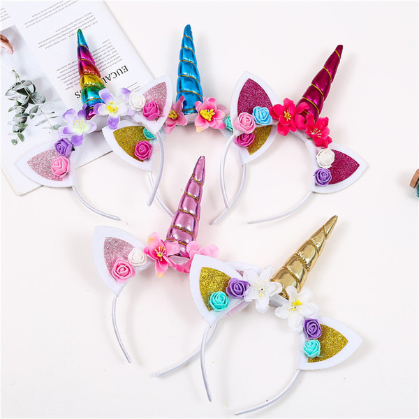 top popular Cute Magical Horn Head Party Kid Girl Hair Headband Fancy Dress Cosplay Decorative Free shipping 2021