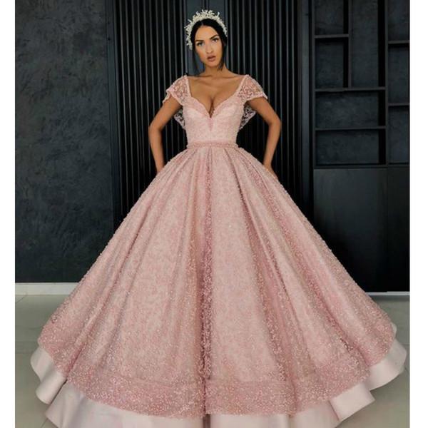 Compre Nude Pink Cap Sleeve Quinceañera Vestidos Satin Beaded Prom Ball Vestido De Cuello En V Sin Espalda Piso Longitud Vestidos De 15 Anos 2019 A