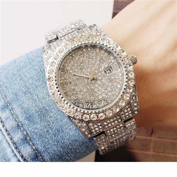 40мм Только Серебро Золото Black Rose Gold Full Diamonds аргументы за мужские часы женские ободок Дата кварцевые часы LLS
