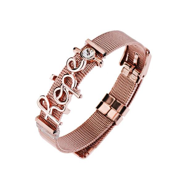 Stainless Steel Keeper Bracelet Adjustable Belt Buckle Slide Letter Charms Rhinestone Mesh Bracelets DIY Women Jewelry Gift