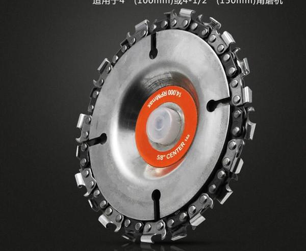 Disco de la amoladora angular, IRmm 4 pulgadas Disco de talla en madera Placa de sierra de cadena 22 dientes, orificio central de 5/8