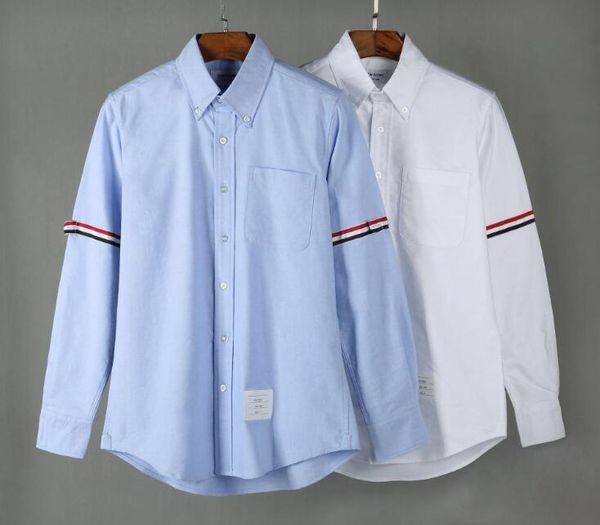 19SS mens designer thom t shirts browne TB classic double sleeve Tri Color Ribbon fashion long sleeved shirt THOM for man casual tshirt
