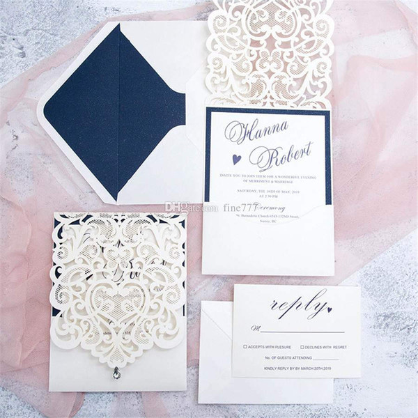 Sıcak Kişiselleştirilmiş Hollow Düğün Davetiyeleri Kartları Lazer kesim düğün davetiyeleri kartları Düğün Malzemeleri Ücretsiz Özelleştirilmiş Baskı