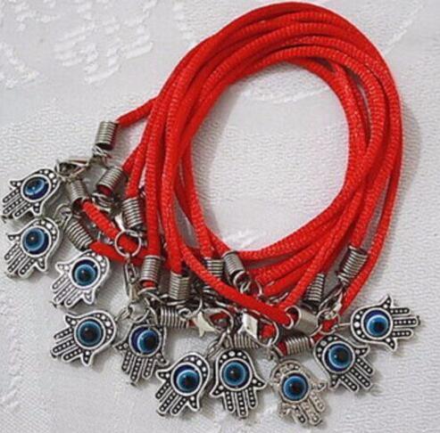 Wholesale- New Fashion Good Luck Red String Bracelet Bangle Antique Silver Kabbalah Hamsa Fatima Hand Charms Judaica Evil Eye Protection