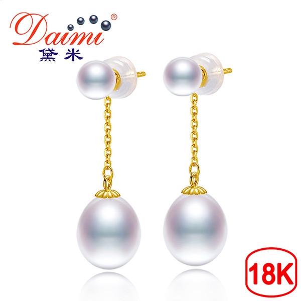 Daimi 18k Gold 3-4mm Tiny Studs With 6-7mm White Drop Pearl Dangle Earrings High Quality Brand Jewelry SH190715