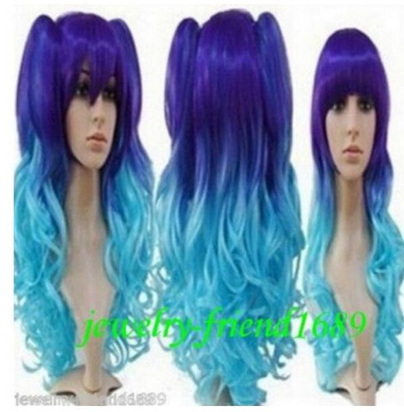 FREE SHIPPING +Cosplay LOLITA Deep Blue & Light Blue Mix wig curly Wig+ Two Clip On Ponytails