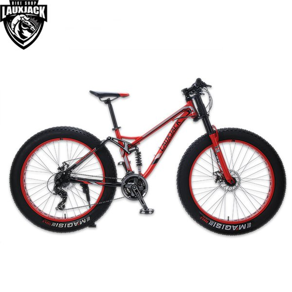 "LAUXJACK Mountain Fat Bike Steel Frame Full Suspention 24 Speed Shimano Disc Brake 26""x4.0 Wheel Long Fork"