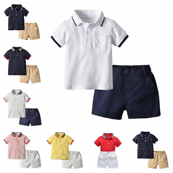 Jungen Designer Kleidung Set Sommer Baby Jungen Kleidung Anzug Shorts Ärmel Tops + Shorts 2 STÜCKE Outfits Kinder Casual Trainingsanzug Boutiquen Kleidung