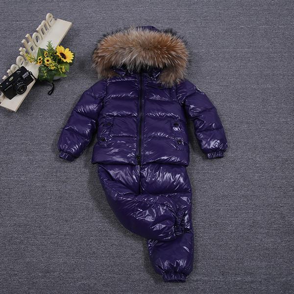 New inverno pai-filho de pele de guaxinim 90% de pato branco para baixo rosa abaixo do revestimento + para baixo calças do bebê conjuntos de roupas / crianças downparkasMX190919