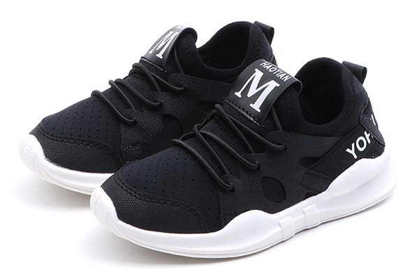 2019 Spring Autumn New Casual Shoes Children Fashion Sneakers Boy Girl White Black Pink Sport Shoes Baby Toddler Shoes For Kids 21-35Yards