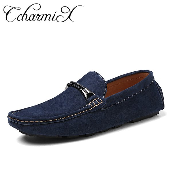 CcharmiX Mens Moccasins Men Shoes Slip On Spring Summer Mens Loafers Top Quality Suede Leather Man Casual Footwear Large Size