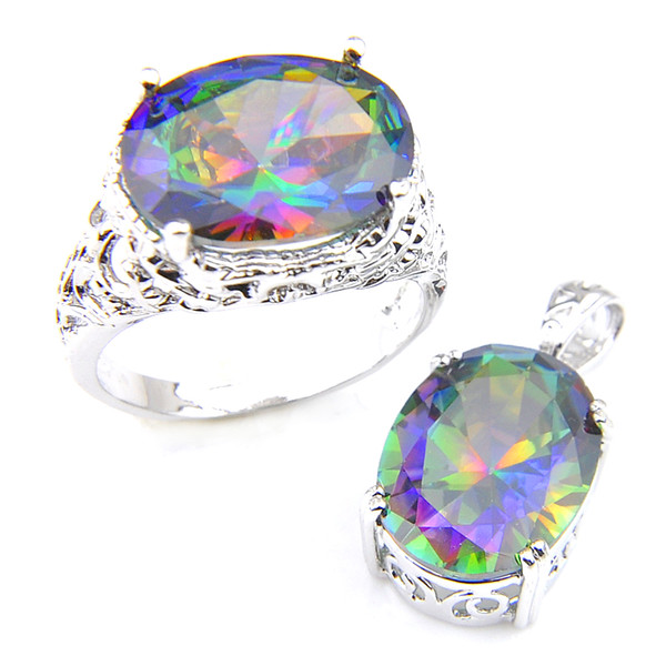 top popular Luckyshine Rings Pendanta Sets Oval Rainbow Natural Mystic Topaz Gems 925 Sterling Silver Plated For Women Zircon Sets Free shippings 2020