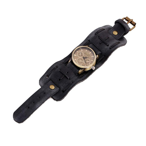 New Style Retro Punk Rock Brown Big Wide Leather Bracelet Cuff Men Watch Cool casual leather male wrist watches vintage bracelet