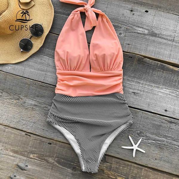 CUPSHE Mantendo Você Acompanha Stripe Uma peça Swimsuit V neck Sem encosto Halter Sexy Bikini 2019 Ladies Beach Bathing Swimwear