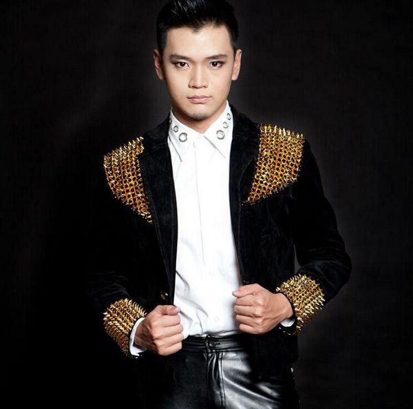 Men New Style Fashion Black Red Male Singer Dj Slim Gentleman Party Dj Ds Costume Rivets Blazer Dancing Jazz Jacket Men's Coat