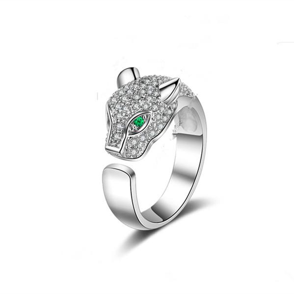 Top Testa di leopardo, testa di leopardo di moda Anelli di diamanti Anello di animali Anello di gioielli in oro rosa e argento creativi