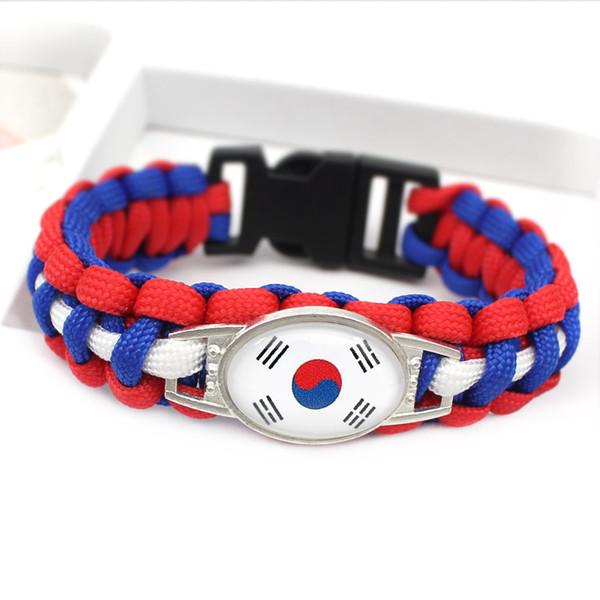 New Design Glass Convex Ellipse Korea National Flag Survival Paracord Charm Jewelry Vintage Royal Blue Red White Umbrella Rope Bracelet Gift
