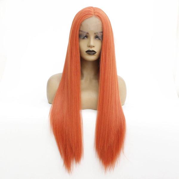 Siyah Kadınlar için büyüleyici Renk Yumuşak Uzun İpeksi Düz Peruk Isıya Dayanıklı Sentetik Dantel Açık Peruk