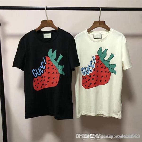 19ss lüks Marka Tasarım Çilek Baskı kısa kollu Tee Gömlek Erkekler Kadınlar breatheable Moda Streetwear Açık T-shirt