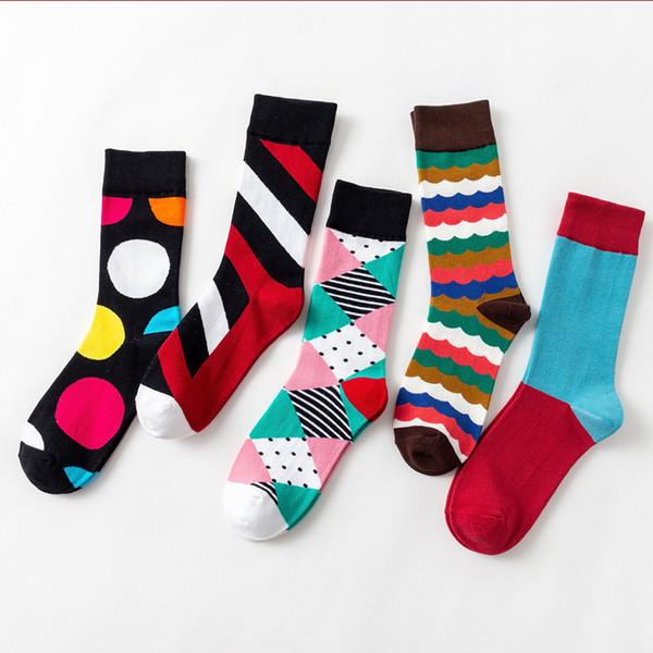 Britische Wind Herren Damen Baumwoll-Designer-Marke Socken Socke hochhackige Casualstreet Modemarke Happy Crew Gcds Herren Socken Korb