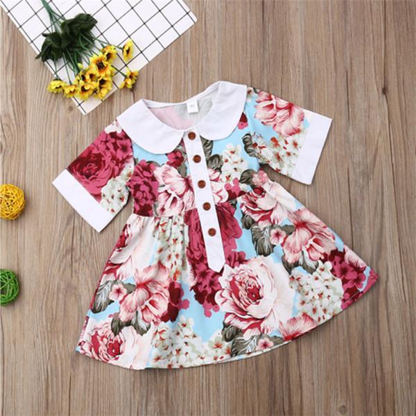 Летние детские платья для девочек 1-6Y кукла девушки лацкане платье с короткими рукавами сломанной цветок принцесса юбка детская дизайнерская одежда для девочек EJY494