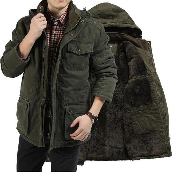 Brand Clothing Winter Parka Men Military Mid-long Multi-pockets Winter Coat Male Hooded Collar Thick Warm Windbreaker Parka