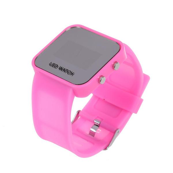 OPQ-Pink Luxury Sport Style LED Digitaluhr Spiegeloberfläche Silikon für Lady Men
