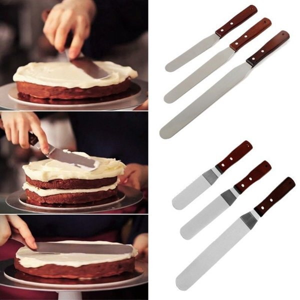 New 6/8/10inch Butter Cake Cream Knife Stainless Steel Spatula for Cake Smoother Icing Frosting Spreader Fondant Pastry