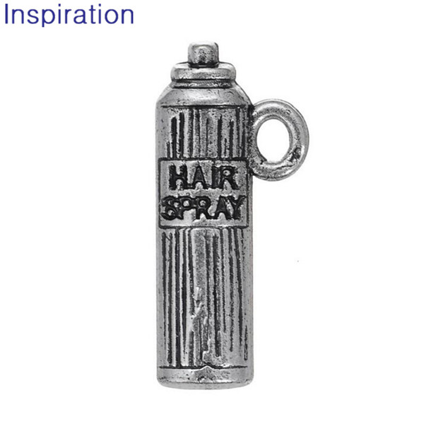 Barber Jewelry HAIR SPRAY Charm Silver Color Alloy Bottle Dangle Charms For Hairdresser Fit Wristband & Bracelet