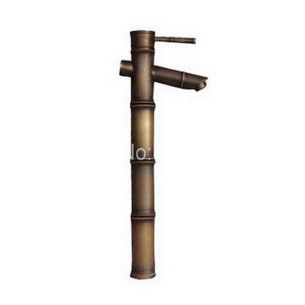 Classic Single Lever Handle Brass Bamboo Shape Bathroom Faucet Vessel Sink Basin Mixer Taps anf222