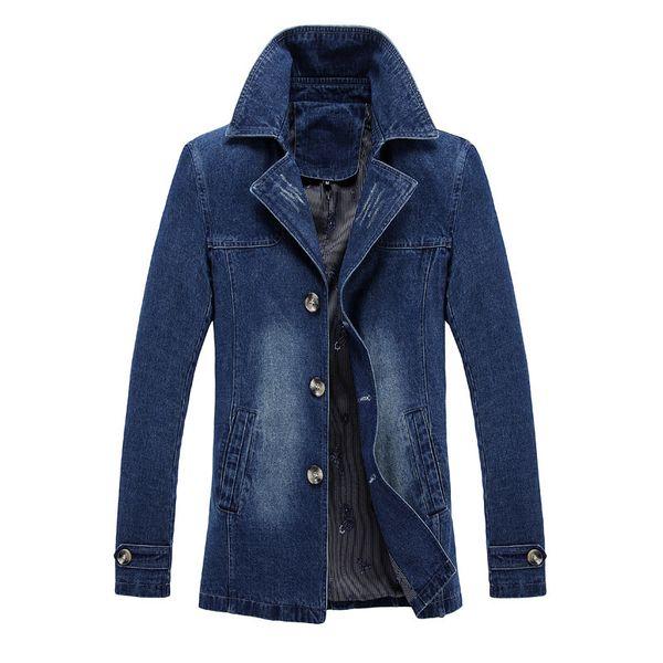 Mens jeans chaqueta rompevientos abrigo denim slim fit blazers prendas de abrigo abrigo moda tops ropa de talla grande m-5xl negro azul