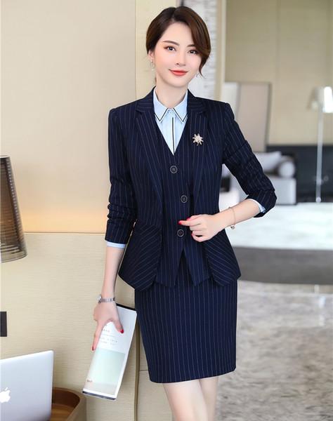 Formal Ladies Navy Blue Blazers Women Business Suits 3 Piece Vest, Skirt and Jacket Sets Office Work Wear Uniform Styles