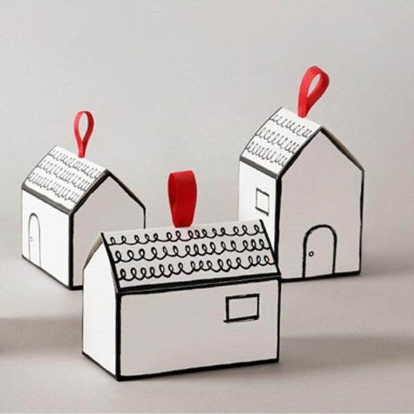 Caixas de Presente de papel 20 Conjuntos Casa Branca Forma Pacote de Presente Caixa de Doces Bolo com Fita Vermelha Favores Do Casamento e Presentes Caixa de Abastecimento Do Partido