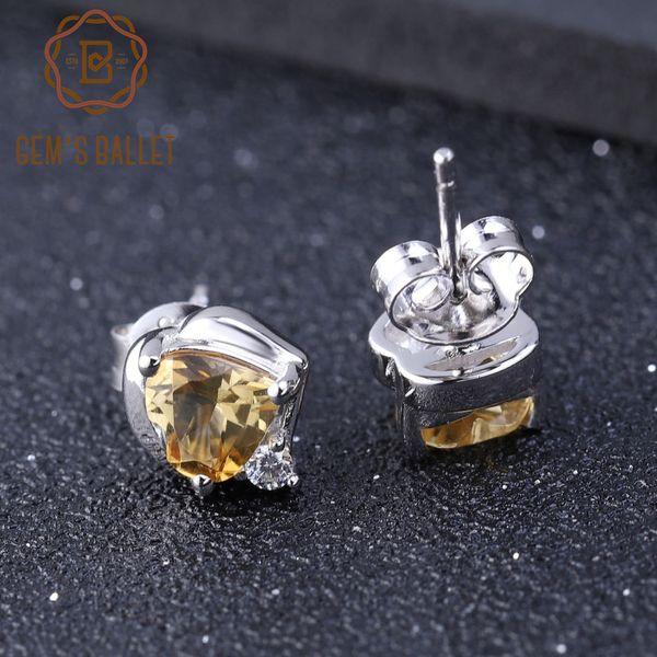 GEM BALLET 1.56Ct Natürliche Citrin Edelstein Ohrringe für Frauen Echte 925 Sterling Silber Herz Ohrstecker Edlen Schmuck