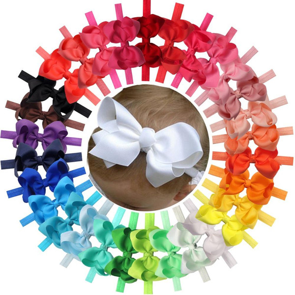 30 Adet Renkler 4.5 İnç Grogren Şerit Bebek Kız Saç Yaylar Bantlar İçin Bebekler Yenidoğan Ve Bebekler