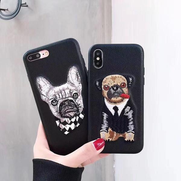 2019 top cool Caja del teléfono celular del perro Bordado Para iphone xs max xr Bulldog cuero de la moda cubierta de Shell Anti-caída para iphone 6 7 8 plus
