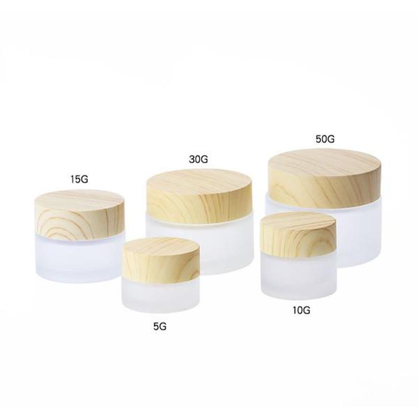 Plastik Bambu Cap ile Buzlu Cam kavanozlar Krem Konteyner Yuvarlak Kozmetik Kavanozları El Yüz Ambalaj Şişeler 5g 10g 15g 30g 50g