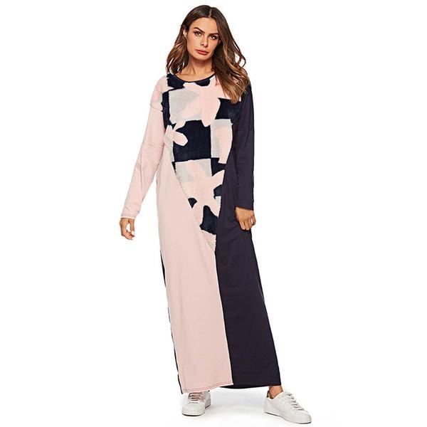Plus Size Women Long Dress Fashion Patchwork Loose Straight T Shirt Dresses Maxi long sleeve Ramadan Clothing Muslim